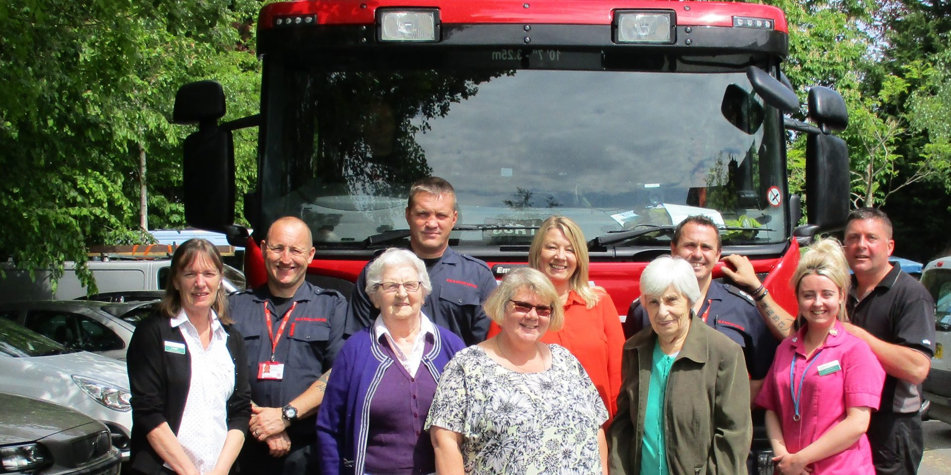 Firefighters on Virtual Dementia Tour at Gloucester House Care Home in Sevenoaks