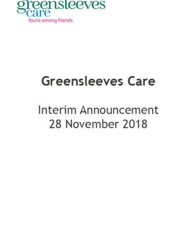 Greensleeves Care - Interim Announcement 28 Nov 2018