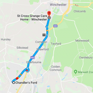 Care Home Chandlers Ford St Cross Grange Map